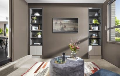 Sunken Lounge Design with Bookcases