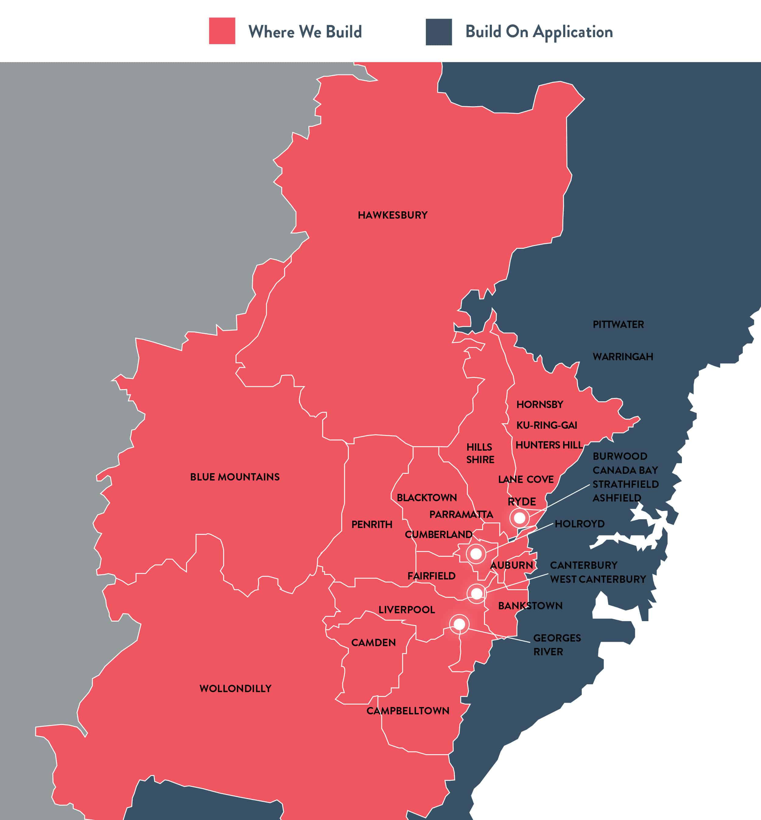 Map Sydney and Greater Western Sydney Where We Build